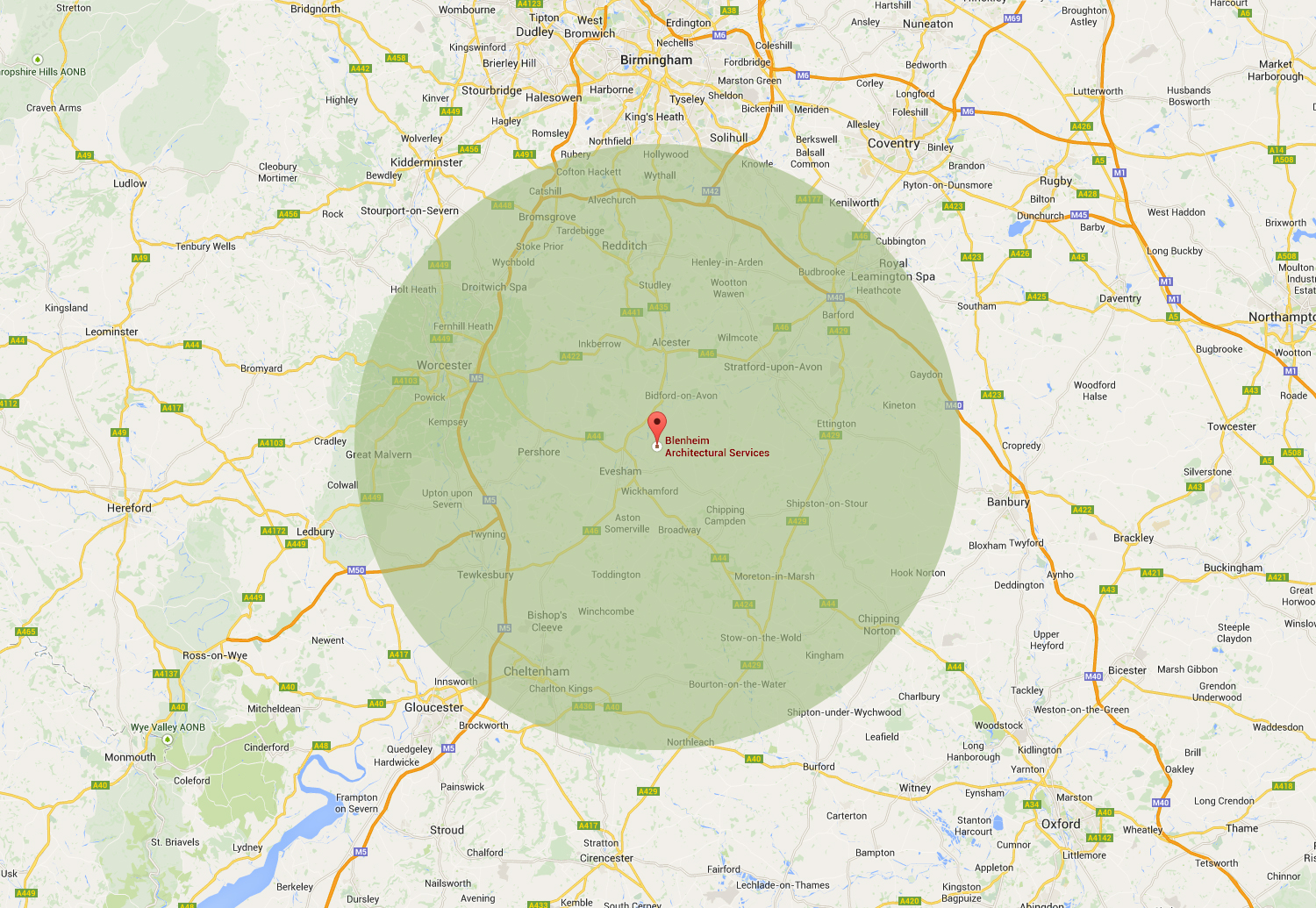 Map of areas we provide our planning and building design services to